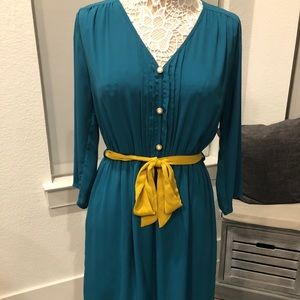 Turquoise 3/4 Sleeve Midi Dress